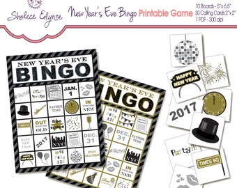 New Years Eve BINGO Printable Game, Instant Download, Black & Gold