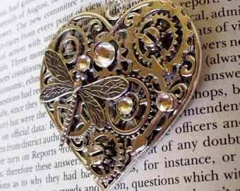 Steampunk Heart Pendant (HP605) Large Silver Filigree Heart with Gears and Dragonfly, Swarovski Crystals, Necklace