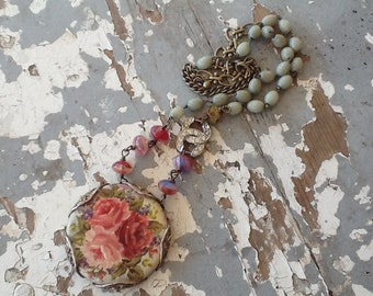 Bohemian Necklace Boho Jewelry Gypsy Rustic Assemblage Necklace Gold Flower Pendant