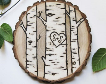 Personalized Tree Slice Art/Wedding, Couples Gift