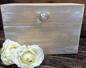 Rustic Country Chic Recipe Box Wooden Wedding Mothers Day Gift