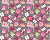 Riley Blake LoveBugs Collection, Friends on Grey background, 1 yard