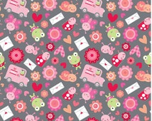 Riley Blake LoveBugs Collection, Friends on Grey background, 1 yard Love Bugs