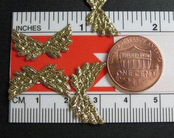 Tiny gold wings angel cherub fairy Dollhouse Miniature 6pcs metallic lame 21mm wing span craft supply scrapbook cell phone DIY deco
