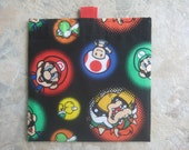 Mario and Friends - Reusable Sandwich Bag, Reusable Snack Bag with easy open tabs