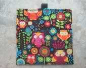 Colorful Owls Bag - Reusable Sandwich Bag, Reusable Snack Bag with easy open tabs