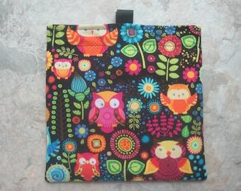 Colorful Owls Bag - Reusable Sandwich Bag, Reusable Snack Bag with easy open tabs