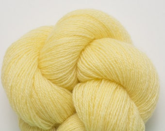 Yellow Cashmere Yarn, Lemon Custard Recycled Lace Weight Cashmere Yarn, 2318 Yards Available