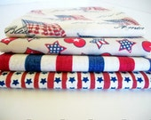 Fat Quarter Fabrics Bundle, 4 Patriotic Americana, 4th of July, Crafting Sewing Fabric, Accent Fabric, Cotton