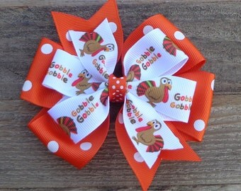 Turkey Hair Bow~Thanksgiving Boutique Bow~Large Boutique Hair Bow~Large Hair Bow~Orange Hairbow~Fall Boutique Hair Bow~Thanksgiving Bow