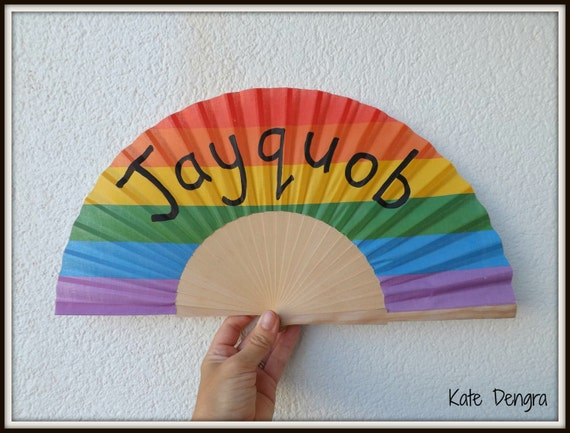 Rainbow Pride LGBT NEW Design Customized Named or Plain Flamenco Painted Wooden Folding Hand Handheld Fan by Kate Dengra from Spain