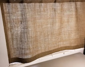 "Burlap Cafe Curtain with  Free Jute Tieback, 38"" Wide X 24""/30""/36"" Long, 'The BEACHCOMBER CAFE Curtain' by Jackie Dix"