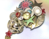 Upcycled Handmade Vintage Jewelry Collage One of a Kind Celestial Brooch,  celestial pin, recycled, fantasy pin, unique celestial jewelry