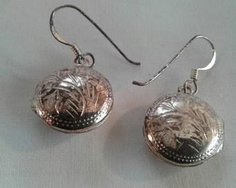 Vintage Sterling Silver Fancy Dangle Earrings with Secret Compartments Lockets