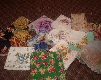 lot 14 vintage ladies hankies handkerchiefs linen floral