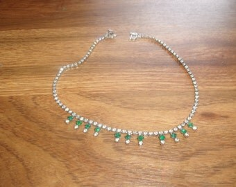 vintage necklace choker green white rhinestones silvertone