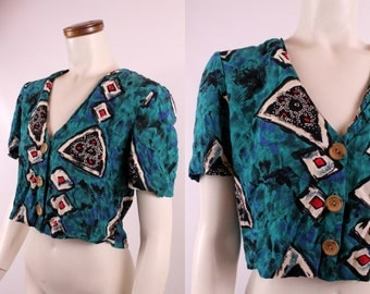 Vintage 80s 90s - Turquoise Blue Black & Red - Abstract Tribal Geometric Print Button Up Cropped Crop Top Belly Shirt - Short Sleeve Blouse