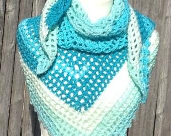 Lacy Shawl Shades of Blue Crochet Triangular Handmade Soft and Fluffy
