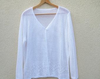 Vintage white oversize cardigan, mesh knitted cotton jacket, women long sleeve vest, machine knitted coat, summer fashion, XXL 22 US 24 UK