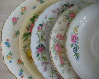 Mismatched China Dessert Plates, China Transferware Plates and Saucers Instant Collection, Pink Floral Wedding Shower China 5 piece set, #03