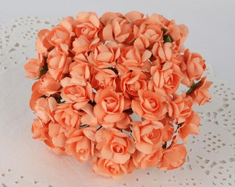 Orange Paper Roses-2 bundles-24 roses