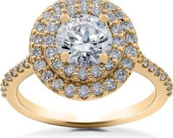 Yellow Gold Diamond Engagement Ring 1 ct Double Halo Diamond Lab Created Engagement Ring 14k Yellow Gold