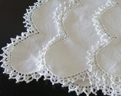 2 White Linen Table Runners + Square Doily Scalloped Edge Crochet Lace Trim 354b