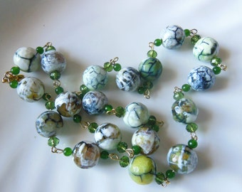 Agate on Jade Spring Necklace 786