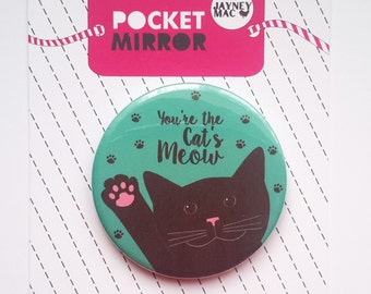Cat Pocket Mirror- Black cat mirror - You're the cat's meow