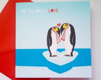 Penguin Valentine Card - To the one I love