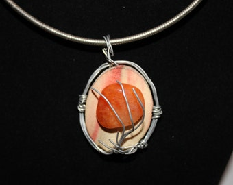 Flaming Box Elder and Brilliant Orange Sunrise Stone w/ tree of life wire wrapped, Pendant, Slide, Necklace