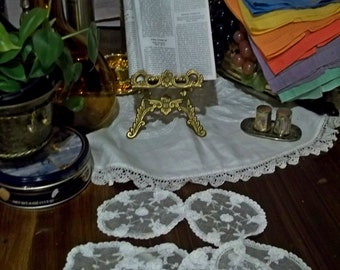 Antique Vintage White Handmade Princess Lace Net Coasters - Set of 8 - NEVER USED