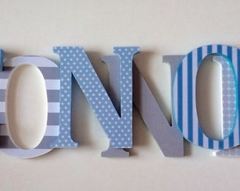 Wooden letters for nursery in gray and sky blue