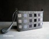 Modern Handbag by MinneBites / Handmade Grey and Black Purse - Cross Body Strap - Vegan Fabric Shoulder Bag - Zipper Pockets - Ready to Ship