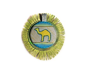 Original Leather Pendant - Handmade and hand tooled - Unique Fashion Accessory for Women - Camel Pendant Necklace Gift For Her