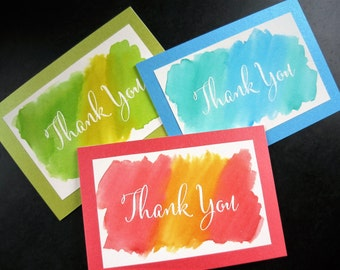 Christmas Thank You Cards Set of 3, Watercolor Thank You Notes
