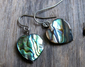 Rainbow Abalone Heart Earrings // Minimalist // Ready to Ship // Nature Inspired // Nautical