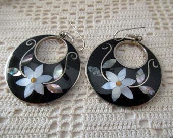 vintage Alpaca silver pierced earrings - flowers, abalone, shell, ocean, Mexico