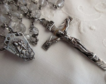 large antique sterling silver rosary- crystals, engraved