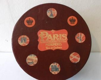 Vintage French Souvenir Box Paris Hat Box