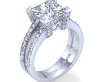 Princess Cut Princess Enhanced Natural Diamond Ring - G VS1 Diamond Ring Princess Cut 950 Platinum Engagement Ring - Wedding Bridal Jewelry