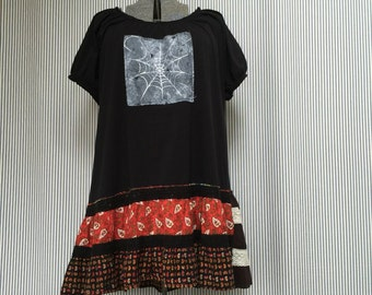 Upcycled Plus Size Halloween Tunic Top, Black Witch Dress, Spiders Bats and Spider Web Appliqué Patchwork Artsy Tattered Witch Dress