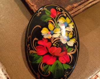 Hand Painted Black Lacquer Brooch