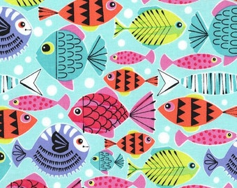 Michael Miller Fabric -School's Out in Turquoise - Pets a Plenty - By The Yard (LOW STOCK)