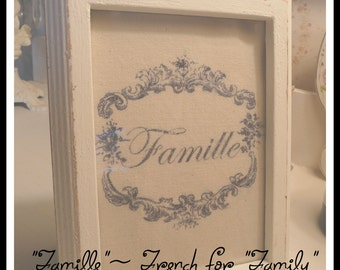 5 x 7 Shabby Picture Frame with Lovely Image Transfer on Canvas ~ Family