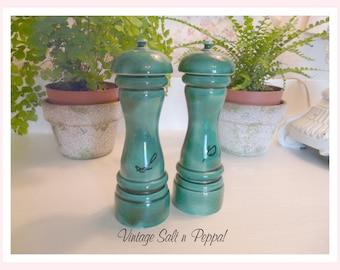 Vintage Forest Green Salt and Pepper Shakers, Delish!