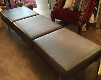 80s Keilhauer 3 Seat Indsutrial Chic Modern Grey Leather and Nickel Plate Bench