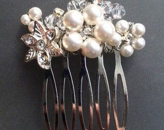 Swarovski pearl and crystal comb, wedding hair accessory, barrette, Wire Wrapped Silver Flower Floral Comb