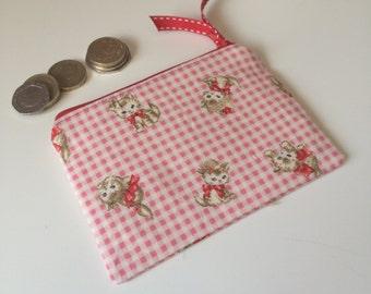 coin purse kittens gingham