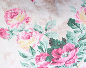 Antique English Cabbage Rose  Vintage Floral Fabric Custom Decorative Throw Pillow